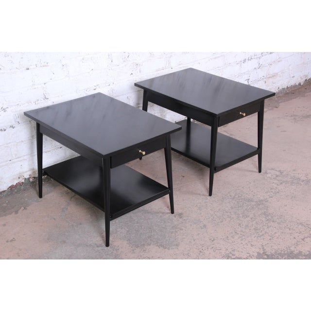 1950s Paul McCobb Planner Group Ebonized Nightstands or End Tables, Pair For Sale - Image 5 of 13