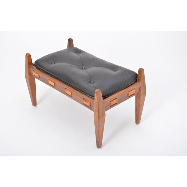 Animal Skin Black Vintage Leather Ottoman/ Foot Stool, Attributed to Sergio Rodrigues For Sale - Image 7 of 12