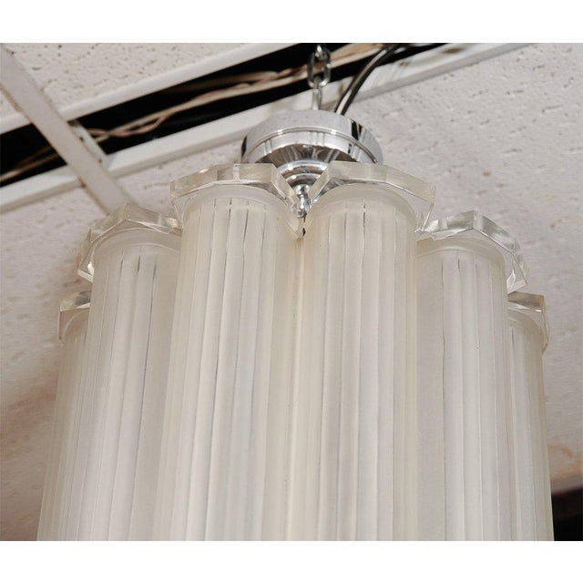 French Art Deco Ceiling Pendant Attributed to Sabino For Sale In New York - Image 6 of 8