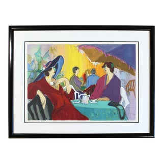 Contemporary Modern Isaac Maimon Framed Hand Signed Serigraph Cafe Select For Sale