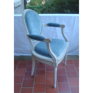 Antique French Blue Velvet Armchairs With White Wash Paint - a Pair Preview