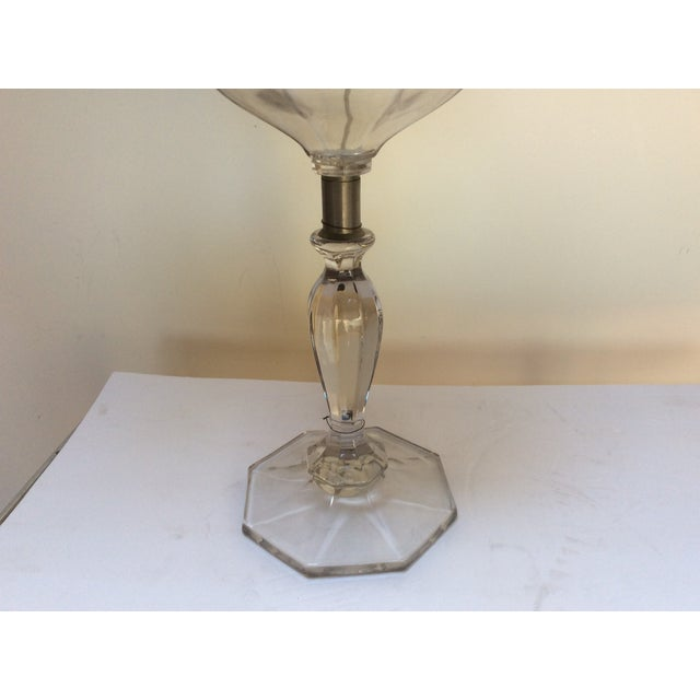 Antique Glass Oil Lamp Conversion With Shade For Sale - Image 5 of 9