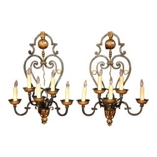 Monumental Pair of 19th Century French Louis XV Forged Iron Five-Light Sconces For Sale