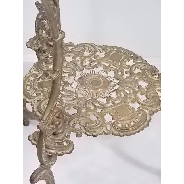 Vintage Victorian Style Brass & Marble Top Filigree Stand For Sale - Image 5 of 10