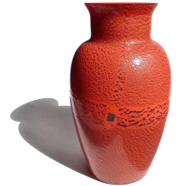 Italian Murano Red Applied Heavy Silver Leaf Italian Art Glass Flower Vase For Sale - Image 3 of 8