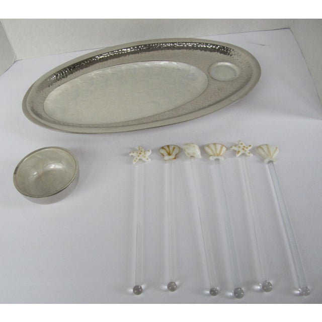 Nautical Serving Platter and Bowl and Drinks Nautical Drink Stir Sticks - Set of 8 For Sale - Image 9 of 9