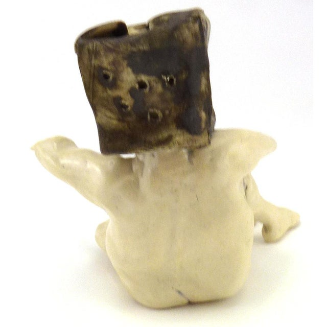 1990s Aggie Zed Contemporary Ceramic Figural Sculpture of Boxman For Sale In New York - Image 6 of 7