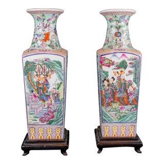 20th Century Chinese Ceramic Square Vase For Sale