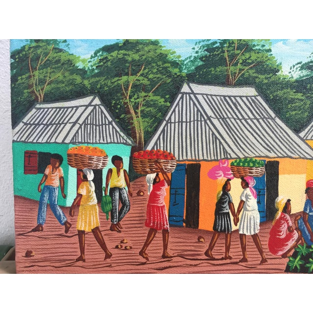 Contemporary Colorful Signed Haitian Painting For Sale - Image 3 of 6