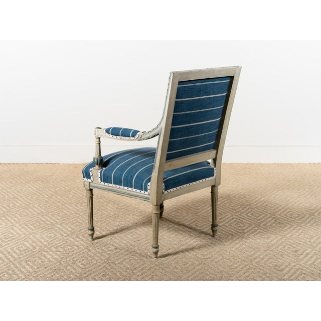 Neoclassical Antique Neoclassical Blue Reupholstered Armchair For Sale - Image 3 of 7