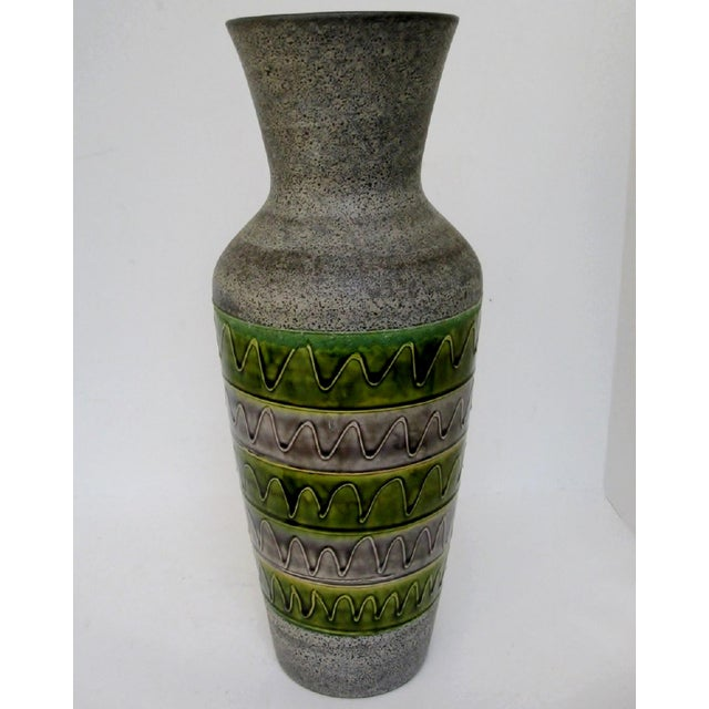 1950s West German ceramic floor vase in matte gray textured glaze. The vase has gloss green and gray horizontal bands...