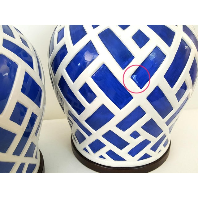 Frederick Cooper Blue & White Ginger Jar Lamps - A Pair - Image 5 of 7
