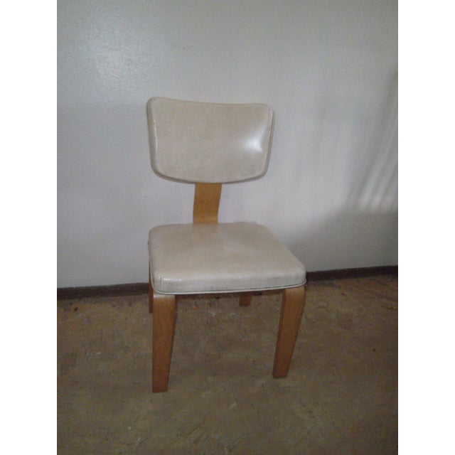 Vintage Ivory Vinyl and Birch Bentwood Chair For Sale - Image 11 of 11