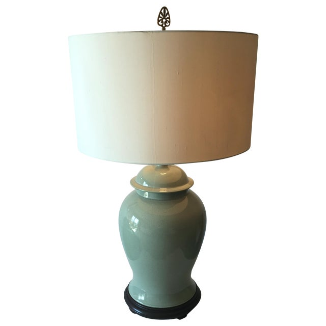 "Vintage Celadon Ginger Jar Lamp-Wood Base-33"" For Sale"