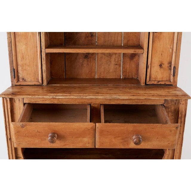 Wood 19th Century English Pine Cupboard Dresser With Rack For Sale - Image 7 of 13