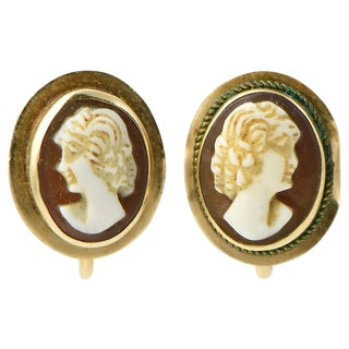 Victorian Shell Cameo & 14k Gold Earrings For Sale