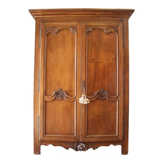 19th Century French Walnut Carved Armoire