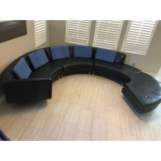 Black Contemporary American Leather Menlo Park Sectional For Sale - Image 8 of 13