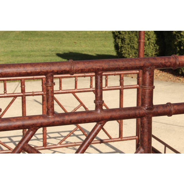 Mid 20th Century Vintage Chippendale Iron Bamboo Fretwork King 4 Poster Canopy Bedframe For Sale - Image 5 of 11