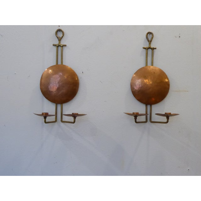 Vintage Arts & Crafts Copper & Brass Sconces - a Pair For Sale In Boston - Image 6 of 6