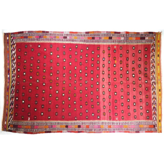 1950s Mid Century Turkish Oushak Vintage Kilim Rug For Sale - Image 5 of 5