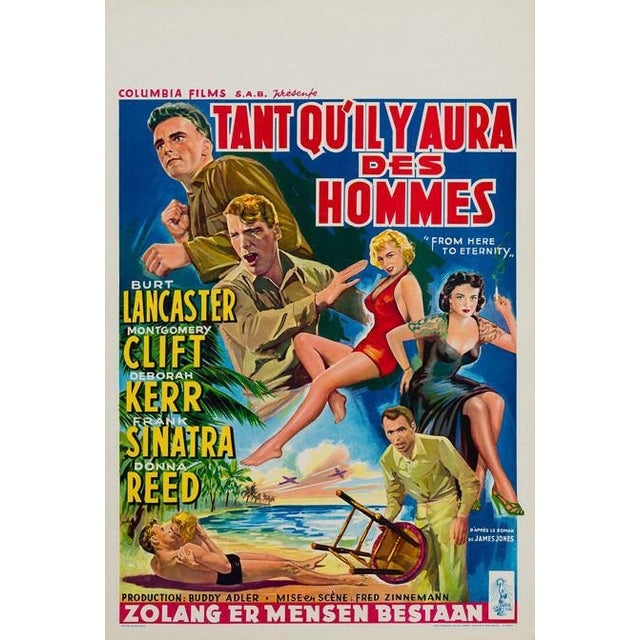Wonderful Rene Peron artwork features on the Belgian Standard original-year-of-release poster for 50s classic From Here to...
