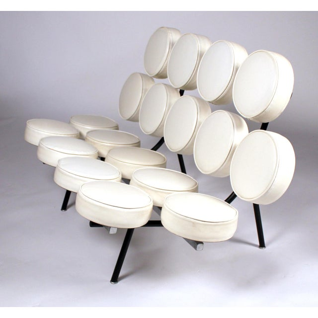 *Museum Quality Early Marshmallow sofa model 5670 designed by George Nelson for Herman Miller c. 1956. This is an early...