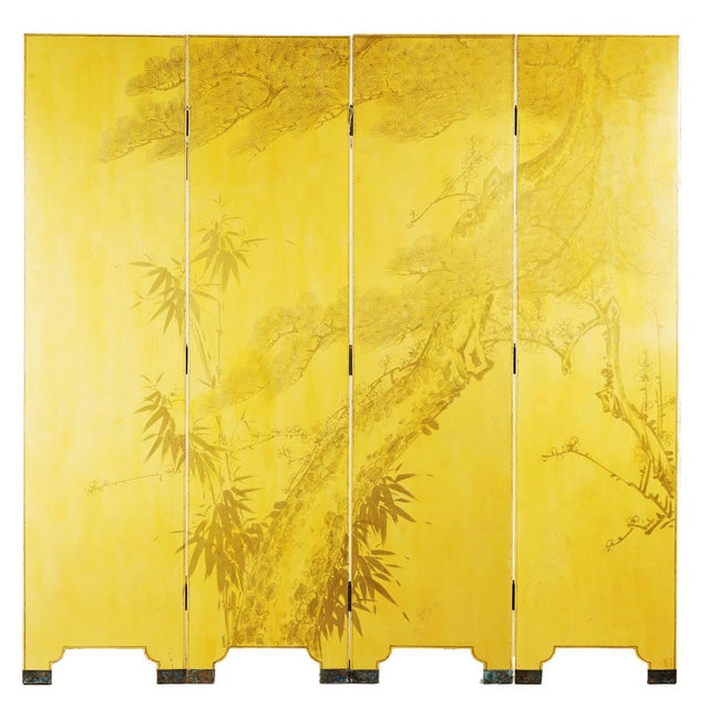 Double-Sided Leather Wisteria Scene 4 Panel Room Divider Screen in Mustard Yellow by Lawrence & Scott For Sale In Seattle - Image 6 of 6