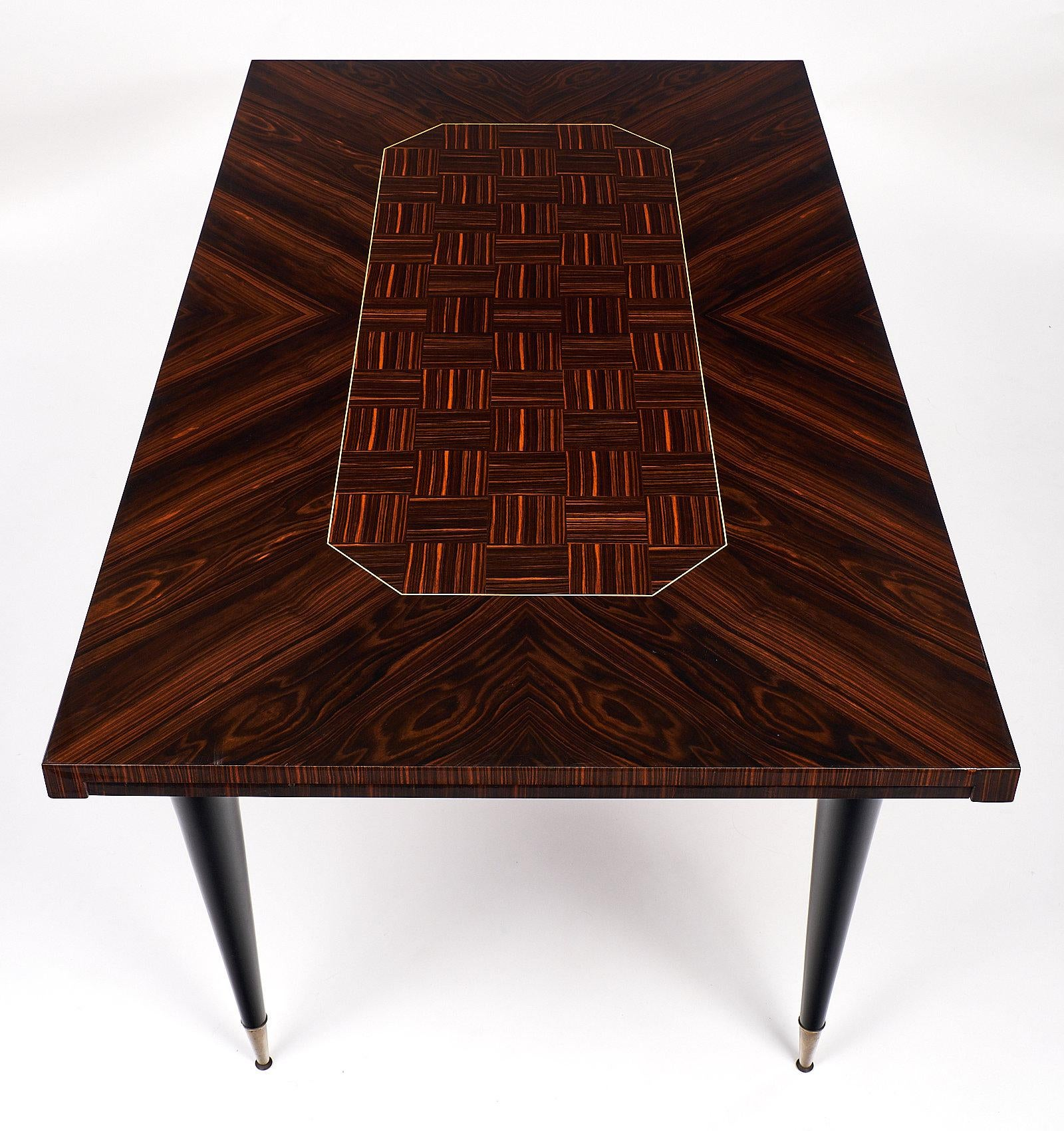 1950s Macassar Of Ebony French Vintage Dining Table For Sale   Image 5 Of 10