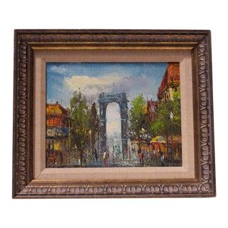 Parisian Cityscape Oil on Canvas by Rivira For Sale