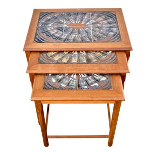 1960s Danish Modern Toften Tile Top Nesting Tables - Set of 3 For Sale