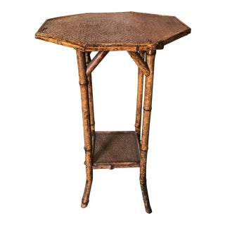 Victorian Burned Bamboo Octagonal Side Table For Sale