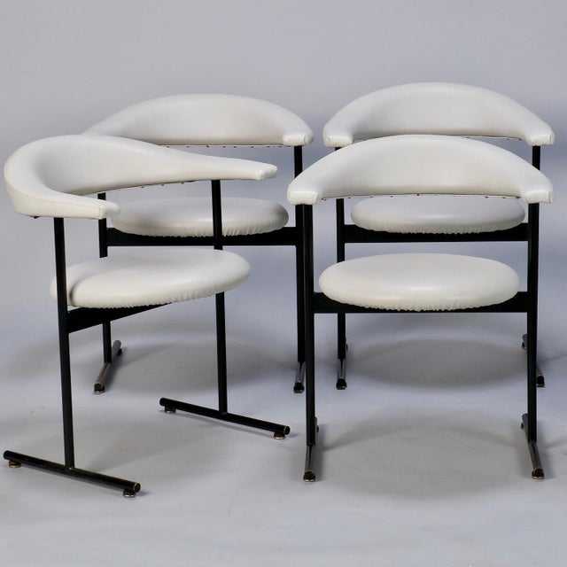 White Mid-Century Streamlined Arm Chairs with Black Metal Frames- Set of 6 For Sale - Image 8 of 9
