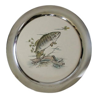 Reed & Barton Porcelain Handcolored Fish Tray For Sale