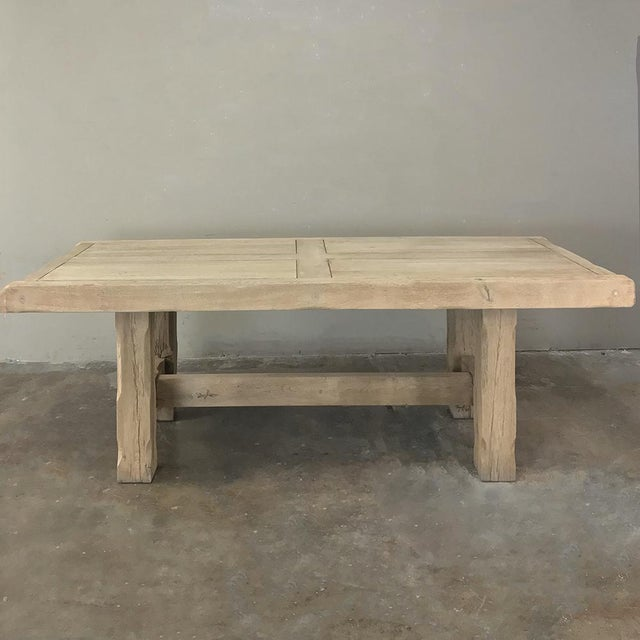 Rustic Antique Grand Rustic Stripped Oak Dining Table For Sale - Image 3 of 11