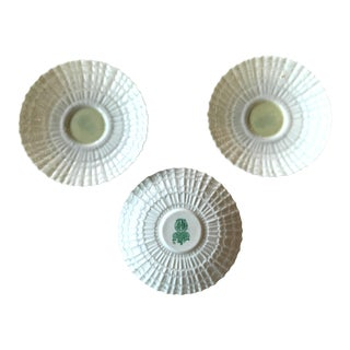 1950s Belleek Irish Ivory With Cob Lustre Parian China Saucer Plates - Set of 3 For Sale