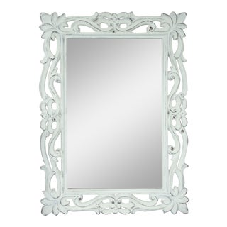 Florence French Country Distressed White Wall Mirror For Sale