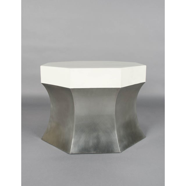 Contemporary Octagonal Side Table - Stainless Steel and Cream Lacquer For Sale - Image 3 of 4