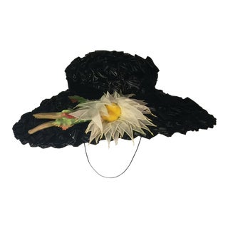 1940's Vintage Great Black Ribbon Hat With Amazing Silk Flower For Sale