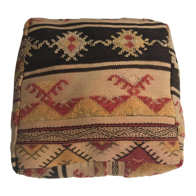 Moroccan Vintage Wool Pouf - Image 1 of 11