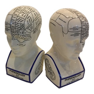 Modern Ceramic Phrenology Head Bookends- A Pair For Sale