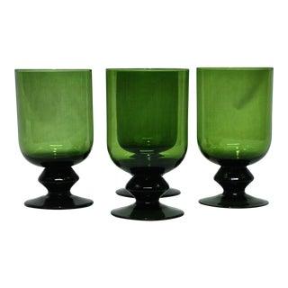 Green Glass Beverage Goblets - Set of 4