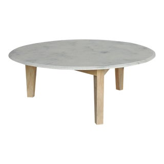 Round Marble & Wood Coffee Table For Sale