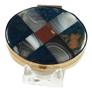 Antique Plaid Scottish Victorian Inlaid Agate Carnelian Snuff Box For Sale