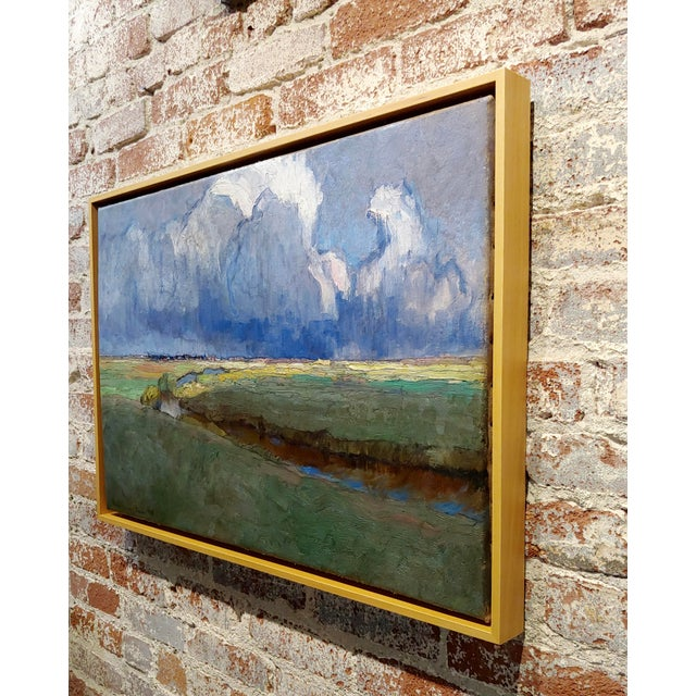"""Blue Richard Kaiser """"River Running Through a Countryside Landscape"""" Oil Painting, 19th Century For Sale - Image 8 of 12"""