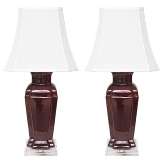 Chinese Double-Vase Ceramic Lamps With Sang De Boeuf Glaze Coloration - a Pair For Sale