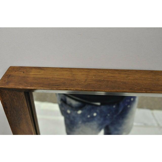Mid 20th Century Vintage Mid Century Modernist Walnut Rectangular Wall Dresser Deep Frame Mirror For Sale - Image 5 of 11