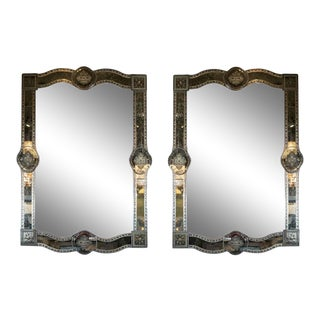 Hollywood Reverse Eglomise Chain Beveled Smoked and Antiqued Mirrors - a Pair For Sale