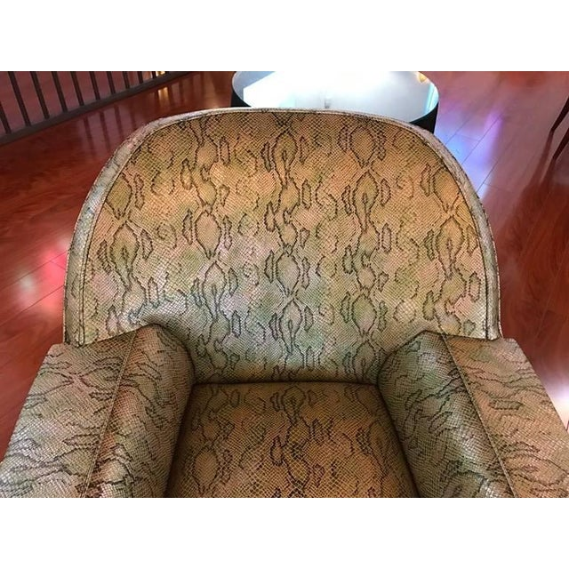 1950s Italian Mid-Century Modern Club Chairs with Faux Snake Skin - A Pair For Sale - Image 5 of 9