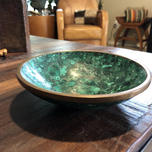 1950s Mid Century Malachite & Brass Bowl For Sale - Image 5 of 13